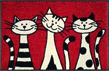 FUßMATTE 50/75 cm Katze Rot, Schwarz, Weiß