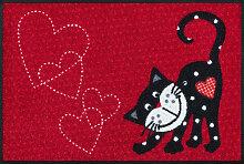 FUßMATTE 50/75 cm Katze Rot