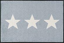 FUßMATTE 50/75 cm Stern Grau, Weiß