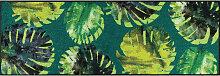 FUßMATTE 60/180 cm Floral Grün
