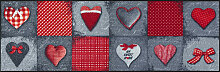 FUßMATTE 60/180 cm Graphik Grau, Rot
