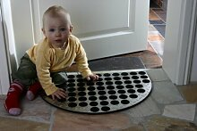 Fußmatte ALU 60x40cm, halbrund glänzend Aluminium