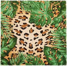 Fußmatte aus Kokosfaser mit Leopardenaufdruck