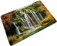 Fußmatte Fussmatte Herbst Wald Wasserfall