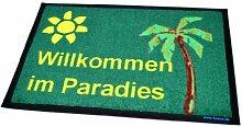 Fußmatte Fussmatte Willkommen im Paradies Geschenkidee Wohnung