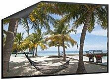 Fußmatte Hängematte am Strand B x H: 70cm x 50cm von Klebefieber®
