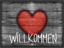 Fußmatte Herzlich Willkommen, grau (38/59 cm)