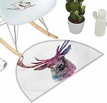 Fußmatte Hirsch halbrund mit abstrakten