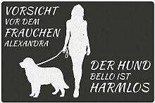 Fußmatte - Hund mit Frauchen (Neufundländer mit