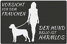 Fußmatte - Hund mit Frauchen (Rottweiler mit