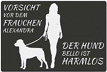 Fußmatte - Hund mit Frauchen (Rottweiler mit Zwei