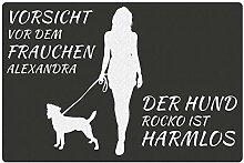 Fußmatte - Hund mit Frauchen (Russel Terrier mit