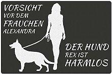 Fußmatte - Hund mit Frauchen (Schäferhund mit