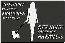 Fußmatte - Hund mit Frauchen (Westhighland
