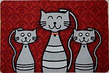 Fußmatte Katze mit Halsband rot, Teppich,