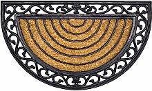 Fußmatte Kokos Halbrund mit Gummirand 45 x 75 cm
