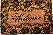 Fussmatte Kokosfaser Fußabtreter Schmutzfangmatte Türmatte Bodenmatte Läufer Teppich Türvorleger Abtreter 3 Designs Farbe Sunflower