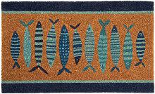 Fußmatte mit aufgedruckten blauen Fischen 45x75