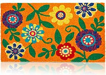 Fußmatte mit Blumenmuster, aus Kokosfaser,
