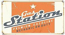 Fußmatte Oldtimer Auto Tankstelle bedruckt 99x55