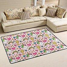 Fußmatte Teppiche Einhorn mit Sternen Sand Innen-