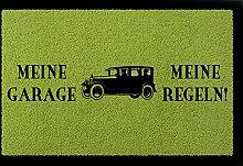 FUSSMATTE Türmatte MEINE GARAGE MEINE REGELN Spruch Auto Mann Geschenk Einzug Grün