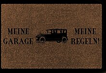 FUSSMATTE Türmatte MEINE GARAGE MEINE REGELN Spruch Auto Mann Geschenk Einzug Braun