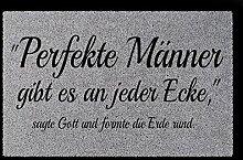 FUSSMATTE Türmatte PERFEKTE MÄNNER Lustig Spruch Geschenk Fußabtreter 60x40 cm Hellgrau