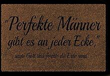 FUSSMATTE Türmatte PERFEKTE MÄNNER Lustig Spruch Geschenk Fußabtreter 60x40 cm Braun
