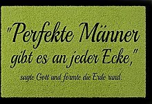 FUSSMATTE Türmatte PERFEKTE MÄNNER Lustig Spruch Geschenk Fußabtreter 60x40 cm Grün