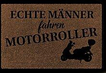 FUSSMATTE Türvorleger ECHTE MÄNNER FAHREN MOTORROLLER Hobby Freizeit Geschenk Flur Braun