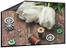 Fußmatte Tulpen mit Nähzeug B x H: 70cm x 50cm von Klebefieber®