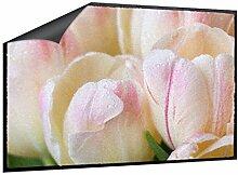 Fußmatte Tulpen mit Tautropfen B x H: 85cm x 60cm von Klebefieber®