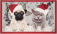 Fußmatte Weihnachtskatze und Hund Hanse Home