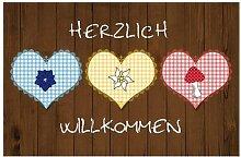 Fußmatte Willkommen Waschbar 44x67 Braun