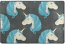 Fußmatten Teppiche Teppichfliesen Blaues Haar