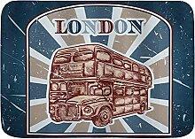 Fußmatten, Vintage Emblem Englisch Bus auf Grunge