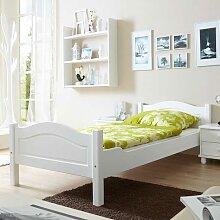 Futonbett aus Kiefer Massivholz Weiß