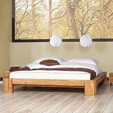 Futonbett aus Wildeiche Massivholz Dachschräge