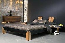 Futonbett CLASSIC - preisgekröntes Designerbett - in Esche massiv, schwarz lasiert, Größe:160x200cm