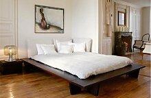 Futonbett KEDIA I - multifunktionales Designerbett - Buche massiv auf Nussbaum gebeizt, Größe:100x210cm