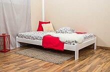 Futonbett / Massivholzbett Kiefer Vollholz massiv weiß lackiert A10, inkl. Lattenrost - Abmessung 120 x 200 cm