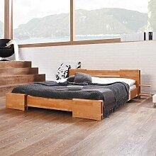 Futonbett mit Fächern Buche Massivholz