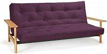 Futonsofa Balder - Schlafsofa 140 x 200 cm mit Futon & Lattenrost, Farbe und Futon wählbar, Futonfarbe:Violett, Futonauflage:Futon Komaki Latex