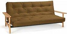 Futonsofa Balder - Schlafsofa 140 x 200 cm mit Futon & Lattenrost, Farbe und Futon wählbar, Futonfarbe:Wüstensand, Futonauflage:Futon Nagaoka Latex