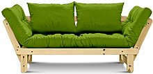 Futonsofa Beat mit Futon 6.0 Kokos 80x200 cm (Lime / Kiefer natur lackiert)