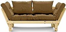 Futonsofa Beat mit Futon Comfort 80x200 cm (Camel / Kiefer natur lackiert)