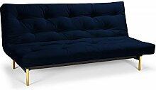 Futonsofa Frigga - Schlafsofa 140 x 200 cm mit Futon & Lattenrost, Farbe und Futon wählbar, Futonfarbe:Marineblau, Futonauflage:Futon Komaki Latex