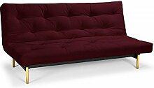 Futonsofa Frigga - Schlafsofa 140 x 200 cm mit Futon & Lattenrost, Farbe und Futon wählbar, Futonfarbe:Weinrot Hell, Futonauflage:Futon Nagaoka Latex