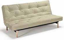 Futonsofa Vidar - Sofa mit Futon Schlafsofa für 2, viele Farben, Futon wählbar, Versteppung Metallknopf, Futonfarbe:Natur, Futonauflage:Futon Komaki Latex